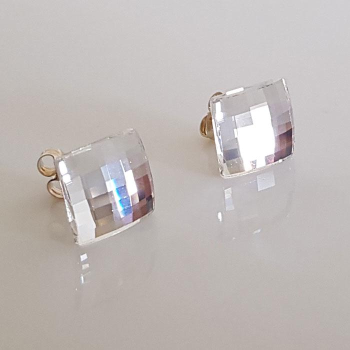 Swarovski Crystal Earrings Stud Checker